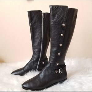 Michael Kors Black Leather Studded Riding Boots